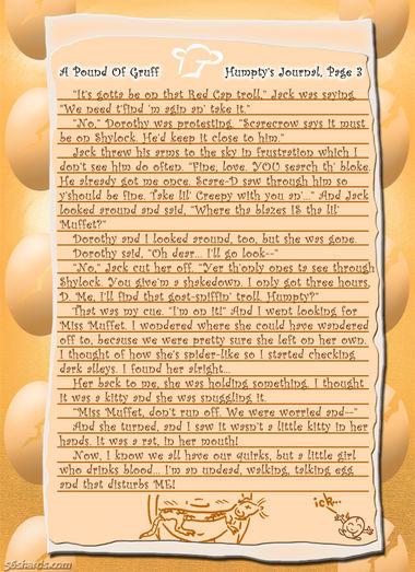 """A Pound Of Gruff"": Humpty's Journal, Pg. 3"