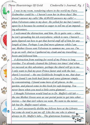 """Three Heartstrings Of Gold"" 2: Cinderella's Journal, Pg. 1"