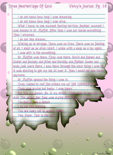 """""""Three Heartstrings Of Gold"""" 74: Velveteen's Journal, Pg. 16"""