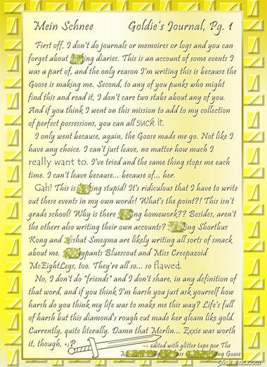 """""""Mein Schnee"""" 2: Goldie's Journal, Pg. 1-b"""