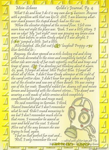"""""""Mein Schnee"""" 20: Goldie's Journal, Pg.4"""