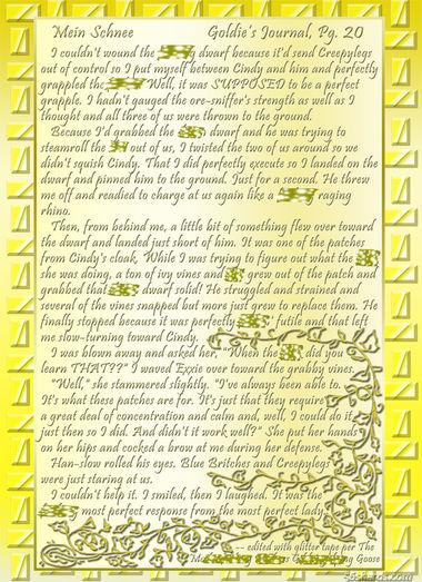 """""""Mein Schnee"""" 97: Goldie's Journal, Pg.20"""