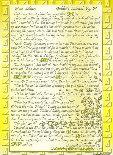 """""""Mein Schnee"""" 99: Goldie's Journal, Pg.21"""
