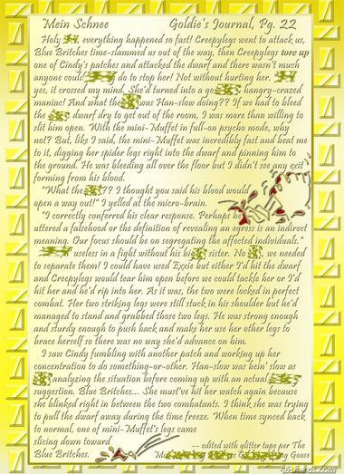 """""""Mein Schnee"""" 104: Goldie's Journal, Pg.22"""
