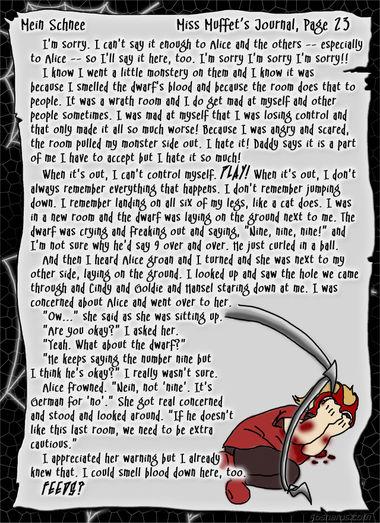 """""""Mein Schnee"""" 106: Miss Muffet's Journal, Pg.23"""