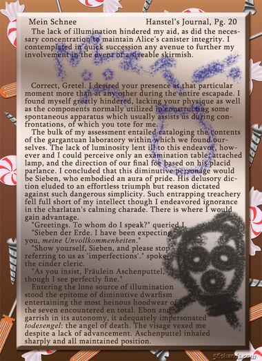 """""""Mein Schnee"""" 110: Hanstel's Journal, Pg.20"""