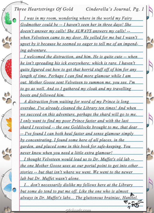 """Three Heartstrings Of Gold"" 2: Cinderella's Journal, Pg. 1"