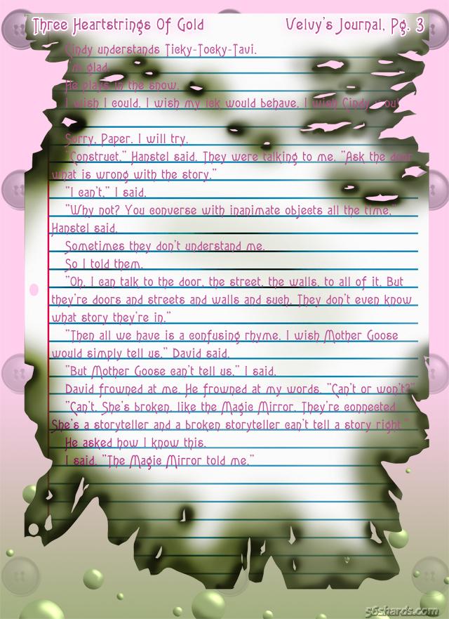 """""""Three Heartstrings Of Gold"""" 12: Velvy's Journal, Pg. 3"""