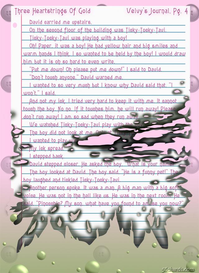 """""""Three Heartstrings Of Gold"""" 18: Velvy's Journal, Pg. 4"""