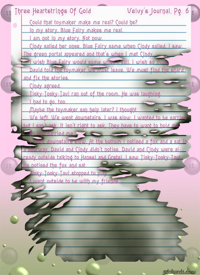 """""""Three Heartstrings Of Gold"""" 26: Velvy's Journal, Pg. 6"""