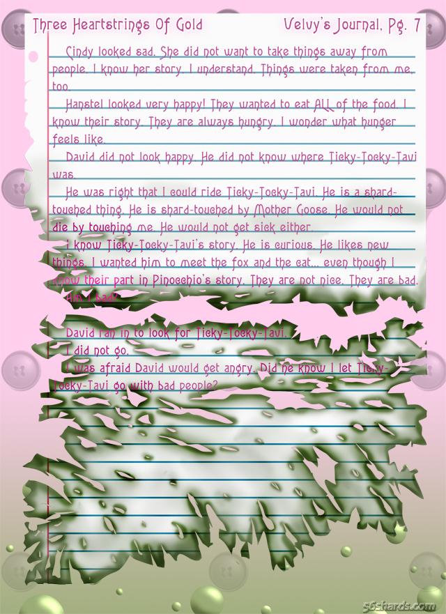 """""""Three Heartstrings Of Gold"""" 30″ Velvy's Journal, Pg. 7"""