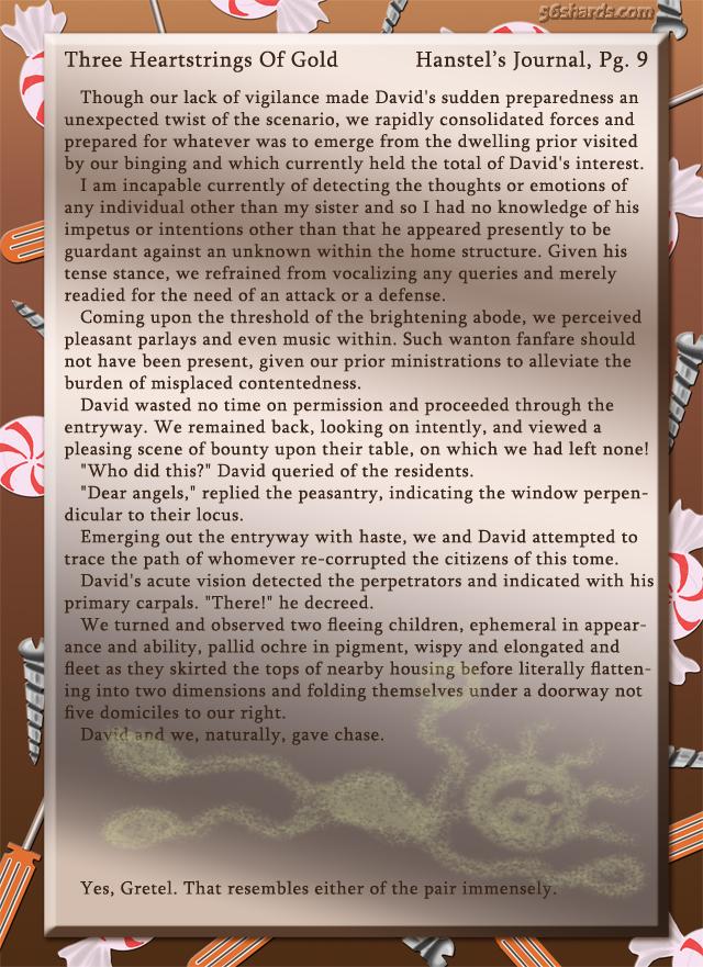 """Three Heartstrings Of Gold"" 35: Hanstel's Journal, Pg. 9"