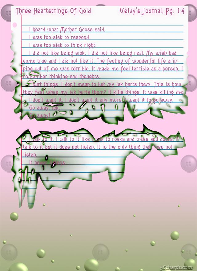 """""""Three Heartstrings Of Gold"""" 56: Velvy's Journal, Pg. 14"""