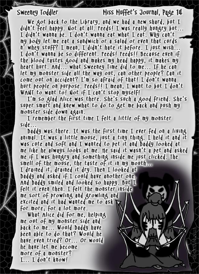 """Sweeney Toddler"" 53: Miss Muffet's Journal, Pg.14"