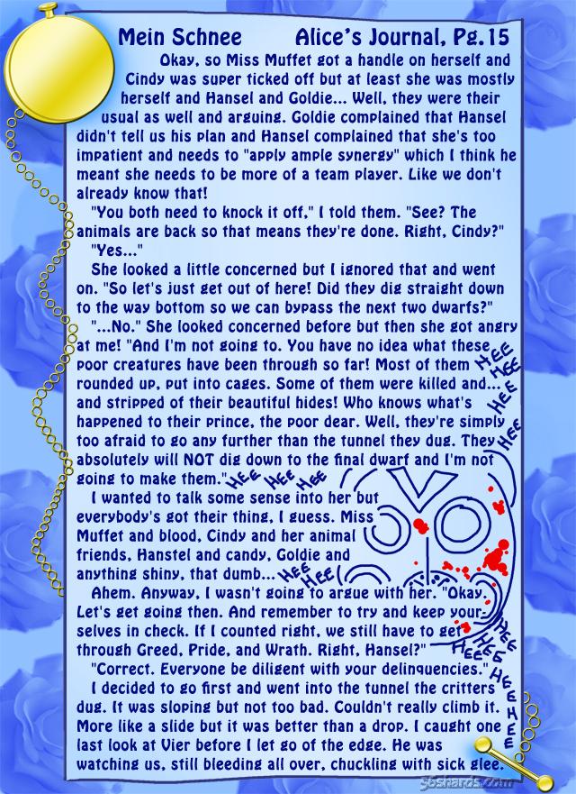 """""""Mein Schnee"""" 70: Alice's Journal, Pg.15"""