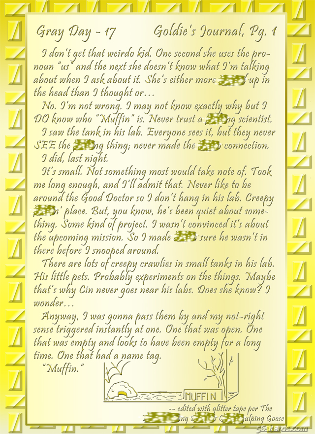 """""""Gray Day"""" 17: Goldie's Journal, Pg.1"""