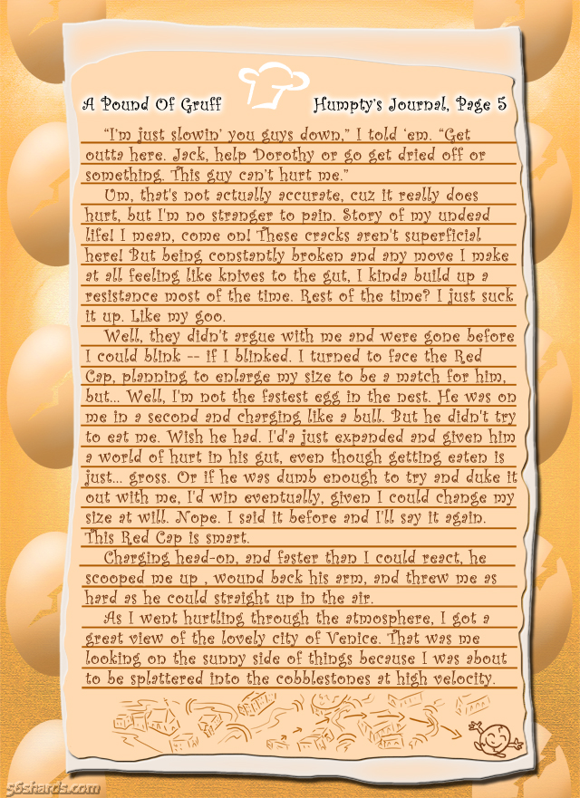 """A Pound Of Gruff"": Humpty's Journal, Pg. 5"
