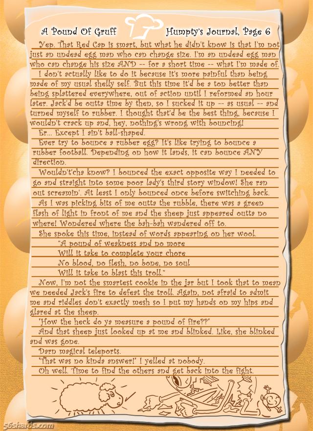 """A Pound Of Gruff"": Humpty's Journal, Pg. 6"