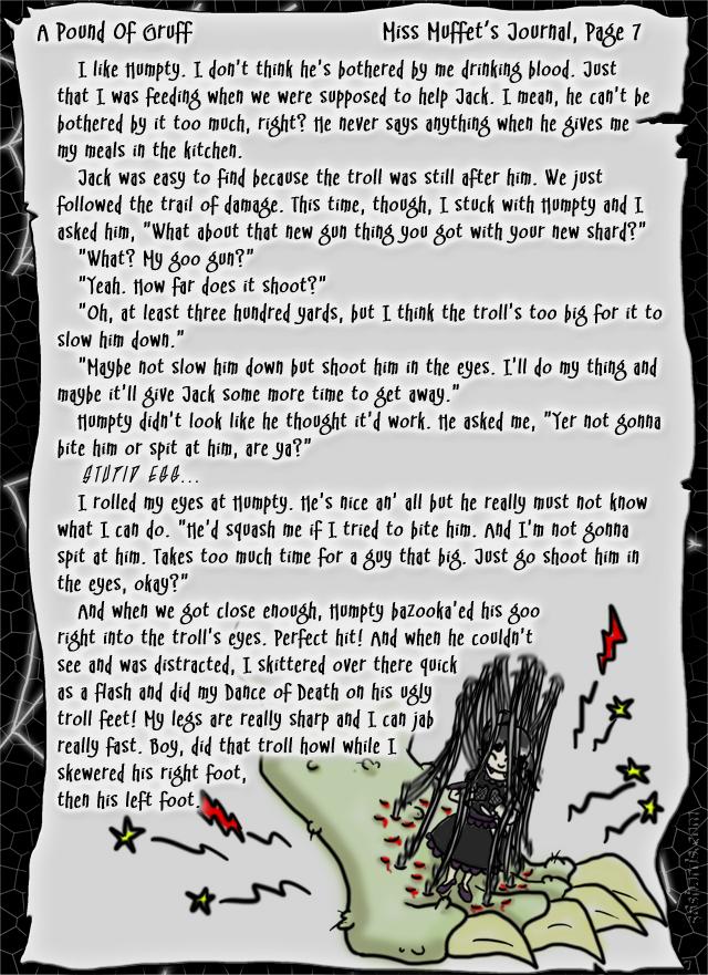 """A Pound Of Gruff"": Miss Muffet's Journal, Pg. 7"