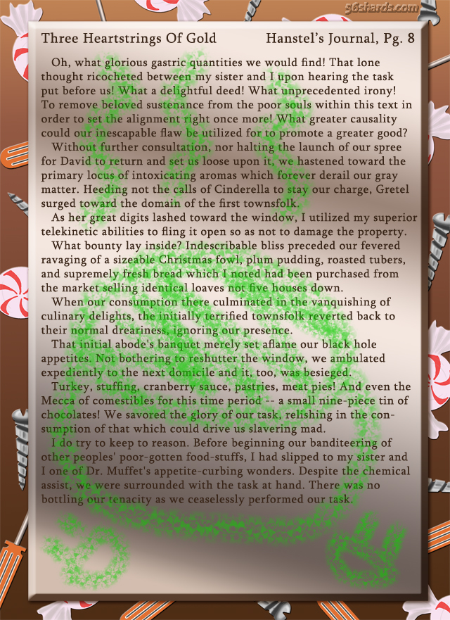 """Three Heartstrings Of Gold"" 31: Hanstel's Journal, Pg. 8"