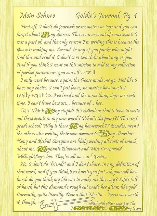 """""""Mein Schnee"""" 2: Goldie's Journal, Pg.1"""