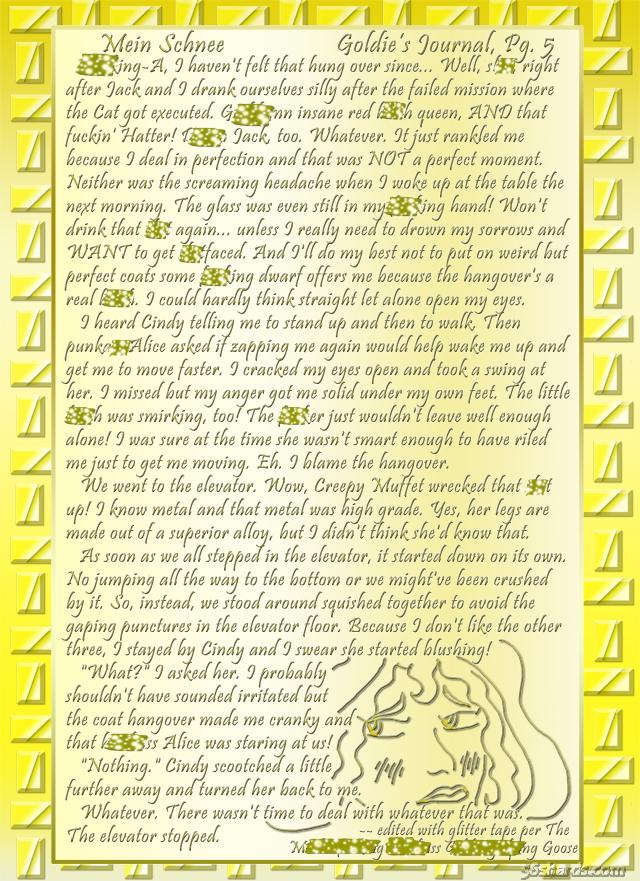 """""""Mein Schnee"""" 32: Goldie's Journal, Pg.5"""