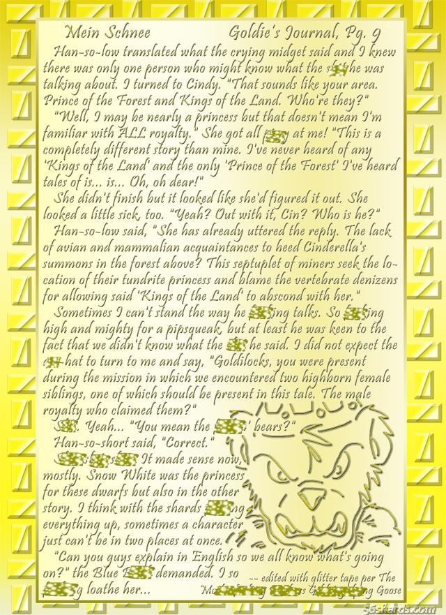 """""""Mein Schnee"""" 50: Goldie's Journal, Pg.9"""