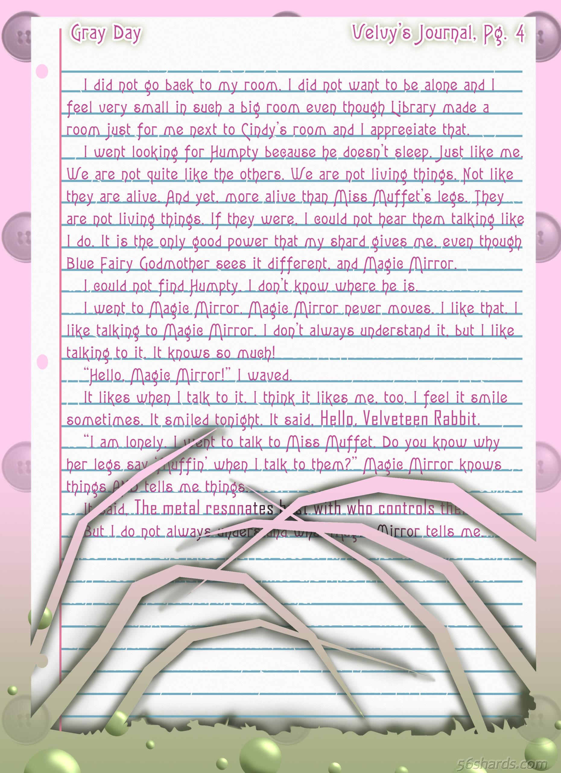 """Gray Day"" 19: Velvy's Journal, Pg.4"