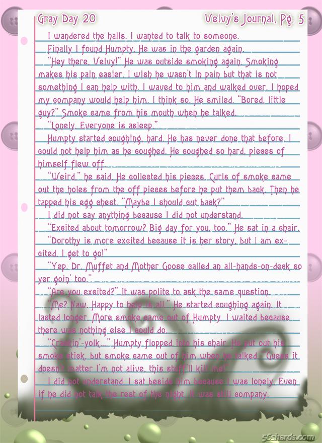 """Gray Day"" 20: Velvy's Journal, Pg.5"